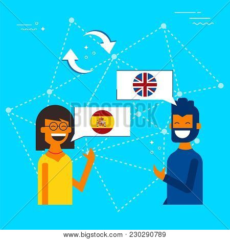 Spanish To English Online Chat Translation Concept
