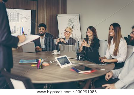 Business Team On A Morning Briefing; Business Meeting And Presentation In A Modern Office