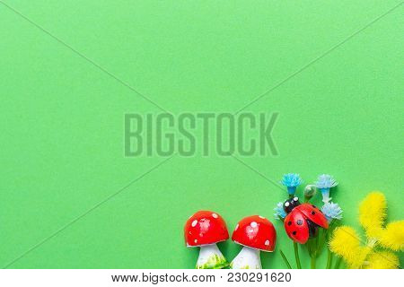 Amanita Mushrooms Small Blue Forget Me Not Yellow Mimosa Flowers Ladybird On Green Background Imitat
