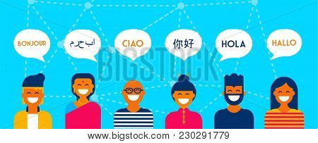 Diverse Language Conversation Banner Concept