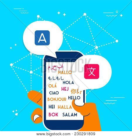 Hand Using Phone Translation App For Social Media