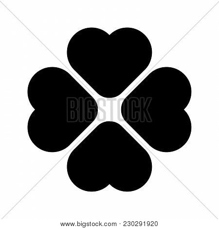 Shamrock Rounded Silhouette - Black Four Leaf Clover Icon. Good Luck Theme Design Element. Simple Ge