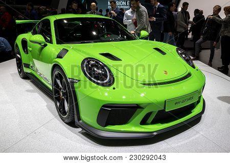 Geneva, Switzerland - March 6, 2018: New Porsche 911 Gt3 Rs Sports Car Presented At The 88th Geneva
