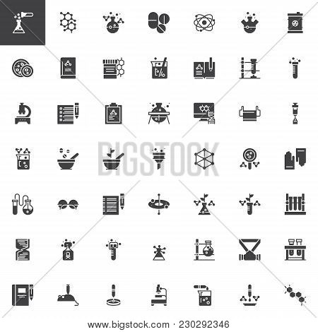 Chemistry Elements Vector Icons Set, Modern Solid Symbol Collection, Filled Style Pictogram Pack. Si
