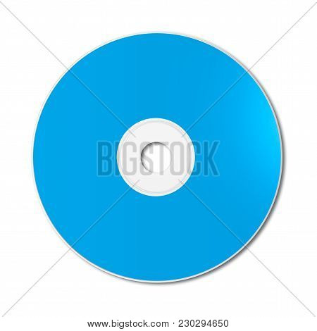 Blue Cd - Dvd Label Mockup Template Isolated On White