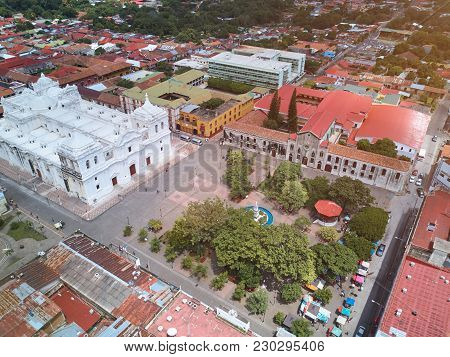Central Square In Leon Town In Nicaragua Above Drone View. Travel Destination In Nicaragua