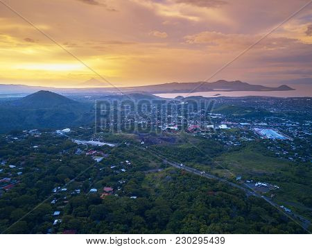 Sunset Sky Over Managua City Aerial Panorama View
