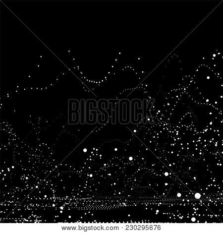 White Paint Splashes On A Black Wall. Abstract Chaotic Dots Scattering, Unusual Vector Illustration