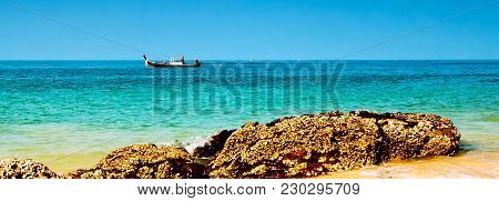 Traditional Thai Longtail Fishing Boat In The Sea Near Koh Lanta Island, Sea Banner Background