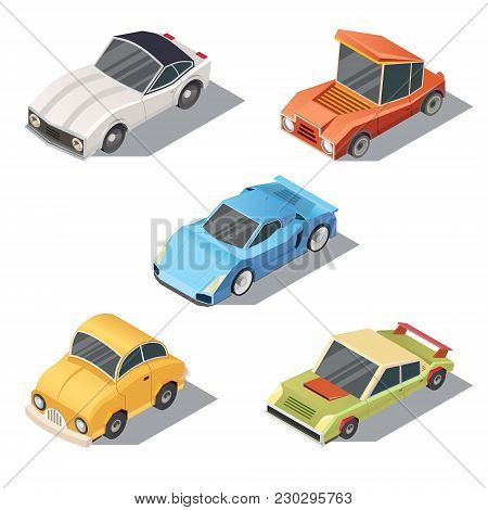 Vector Set Of Isometric Urban Transportation. Private Cars With Shadows Isolated On White Background