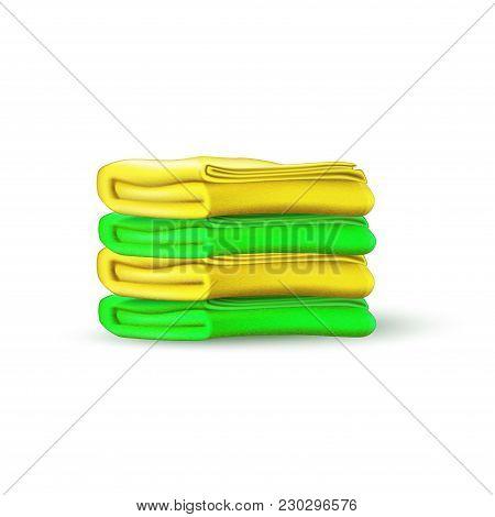 Vector Green Yellow Towel Mockup. Folded Bathroom Textile Terry Cotton Cloth Pile, Beach Holiday Vac