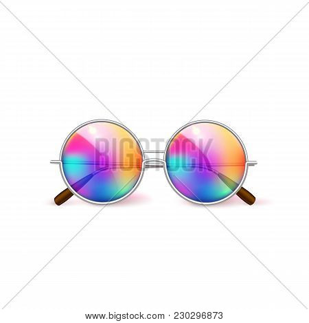 Vector Realistic Retro Circle Eyeglasses, Vintage Hipster Gradient Lens For Photobooth, Photo Props