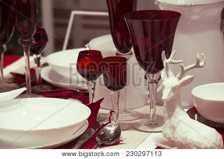 Christmas Red And White Table Setting Close Up