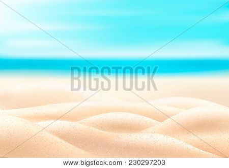 Vector Realistic Beach Coast Coastline, Seaside, Seashore Background With Sand, Blue Sea Ocean Water
