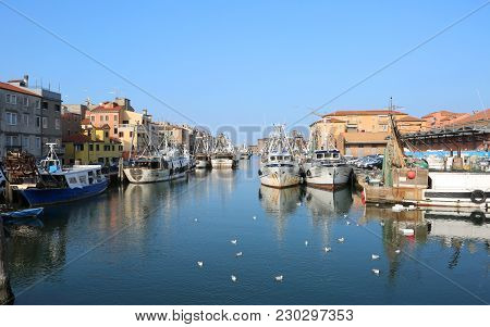 Chioggia, Ve, Italy - February 11, 2018: Big Canal With Fishing Boats Near The Adriatic Sea