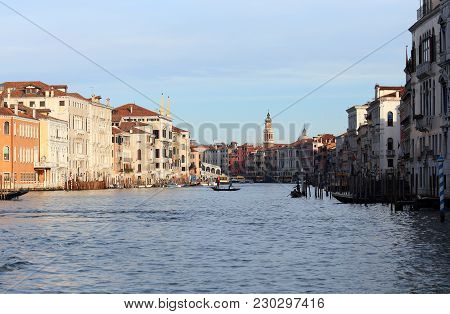 Venice, Italy - December 31, 2015: Grand Canal Called Canal Grande In Italian Language