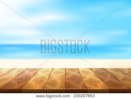 Vector Realistic Wooden Floor Deck Timbers Walkway Beach Coast Coastline, Seaside, Seashore Backgrou