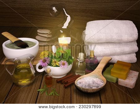 Spa Concept With Flowers On Old Wooden Background. Spa. Spa Treatment. Spa Massage. 3d Illustration