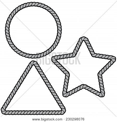 Rope Border Shapes Illustration - A Vector Cartoon Illustration Of A Few Rope Border Concepts.