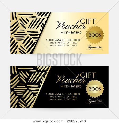 Gold Ink Lines. Gift Vouchers Template Collection. Vector Decorative Flayers