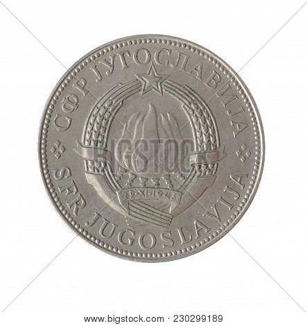 Obverse Of 10 Dinar Coin Made By Yugoslavia