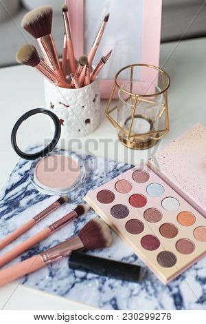 Cosmetics. Makeup. Dressing Table. Home Decor. Candle, Eyeshadow, Makeup Brushes Lipstick Powder Rad