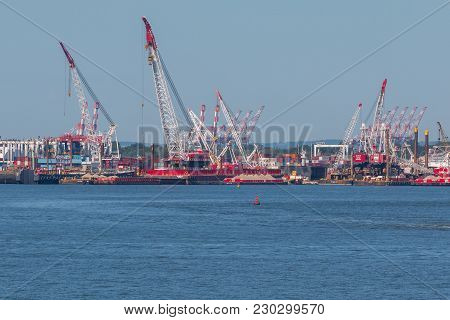 Cranes And Containers In Port Of New York And New Jersey.