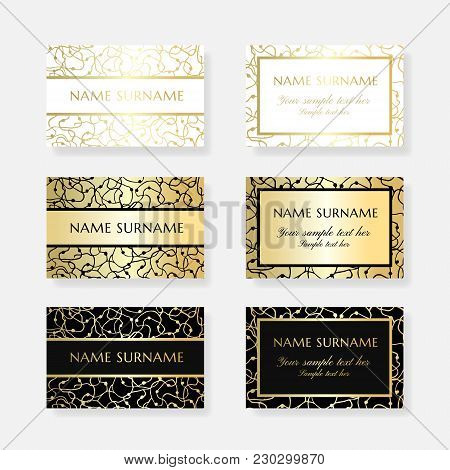 Gold Scribbles. Business Card Design Templates. Vector Banners With Ornamental Texture And Copy Spac