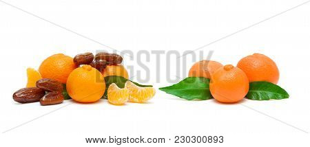 Ripe Tangerines And Figs Isolated On White Background. Horizontal Photo.