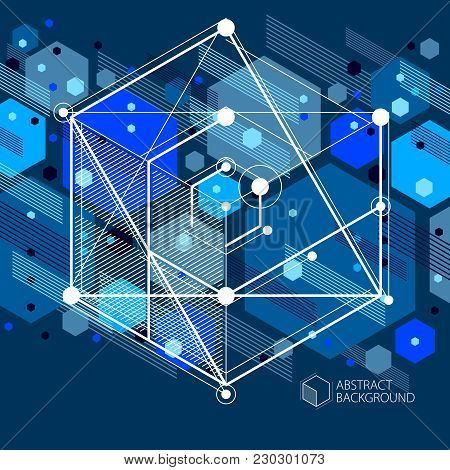 Engineering Technology Vector Dark Blue Background Made With 3d Cubes And Lines. Engineering Technol