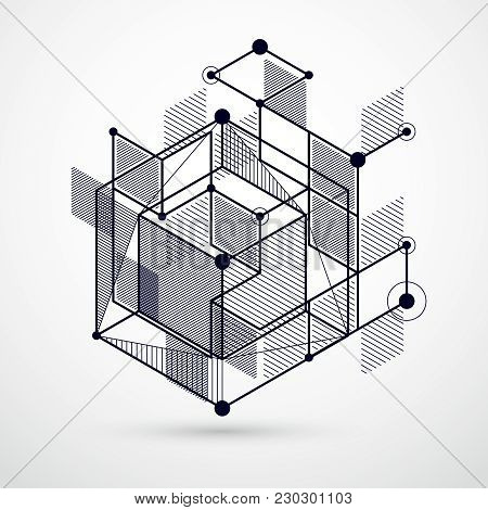 Modern Isometric Vector Abstract Black And White Background With Geometric Element. Layout Of Cubes,