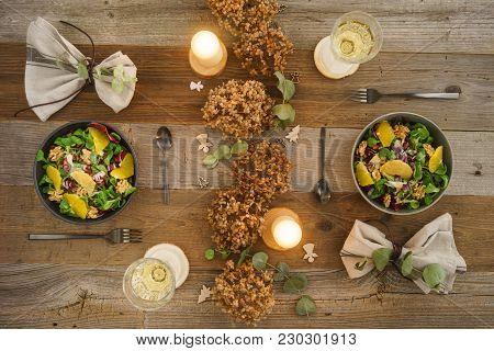 Christmas Menu With Salad With Field Salad, Walnuts, Orange Fillets And Radicchio