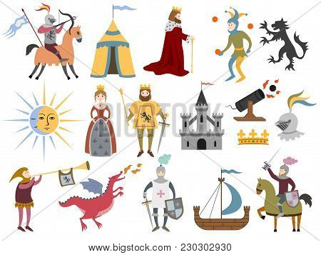 Big Set Of Cartoon Medieval Characters And Medieval Attributes On White Background. Vector Illustrat