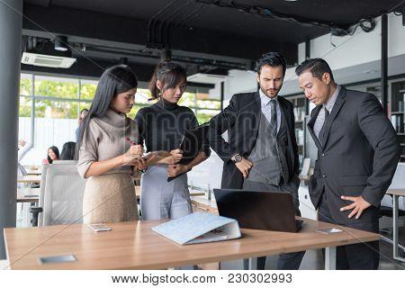 Businessmen Were Brainstorming About Their Jobs. Business Corporation Organization Teamwork Concept.