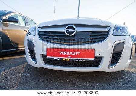 Nuernberg / Germany - March 4, 2018: German Word Verkauft, Sold On A Car Tag At An Opel Car Dealer I