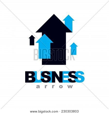 Vector Rising Arrow. Corporate Development Logo Isolated On  White Background. Company Growth Concep