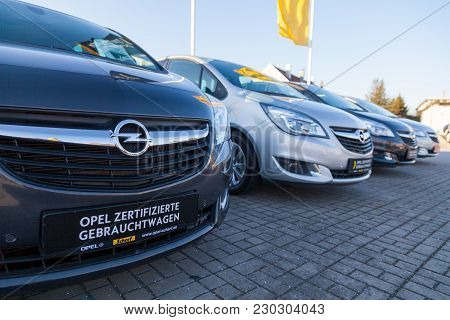 Nuernberg / Germany - March 4, 2018: Opel Logo On A Car At An Opel Car Dealer In Germany. Opel Autom