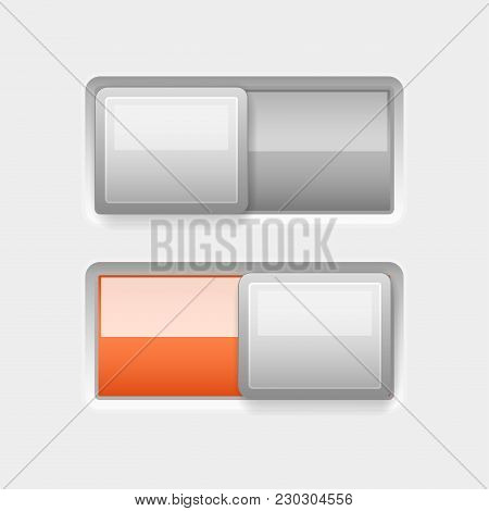 On And Off White Plastic Slider Buttons With Orange Element. Vector 3d Illustration
