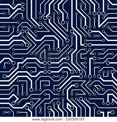 Circuit Board Seamless Pattern, Vector Background. Microchip Technology Electronics Backdrop Repeat