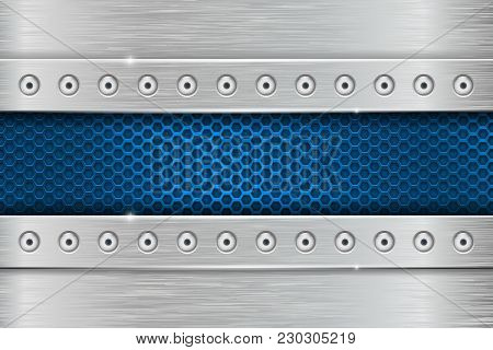 Metal Rivetted Background With Blue Perforated. Vector 3d Illustration