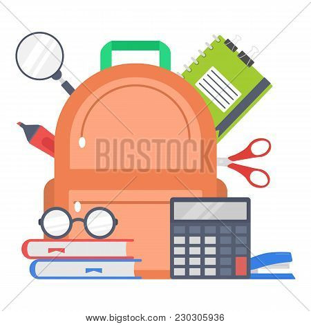 Supplies School Design. Flat Illustration Of Supplies School Design For Web
