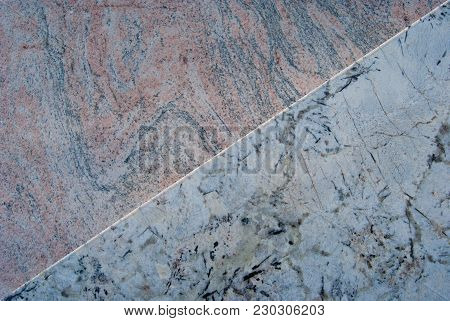 2 Different Overlapping Carrara Marble Slabs That Draw An Oblique Line - Italy