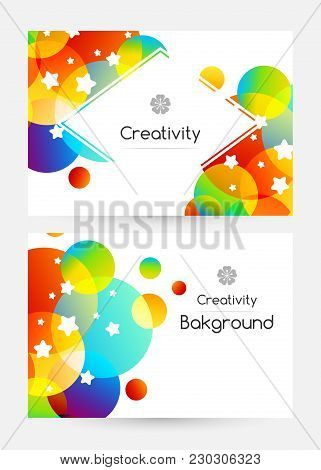 Creative Kids Cards With Colorful Bubble Decoration And Starry Texture. Gift Cards Template