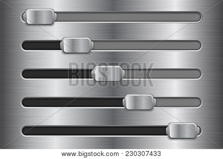 Metal Interface Slider Buttons. Vector 3d Illustration