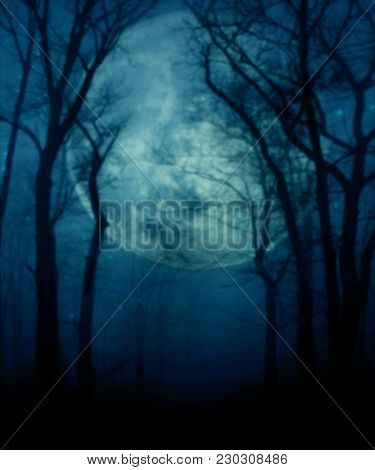 The Giant, Full Moon Light Behind Trees And Shadows In A Premade Background.