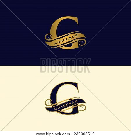 Gold Letter G. Calligraphic Beautiful Logo With Tape For Labels. Graceful Style. Vintage Drawn Emble
