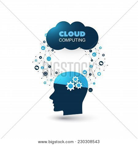 Machine Learning, Artificial Intelligence, Cloud Computing And Networks Design Concept With Icons An