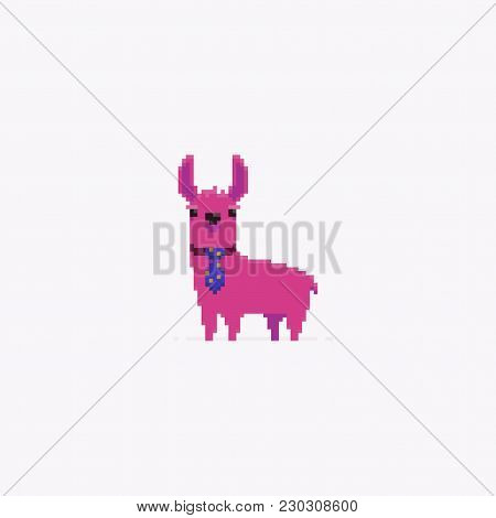 Pixel Art Lama With Tie Isolated On Light Background
