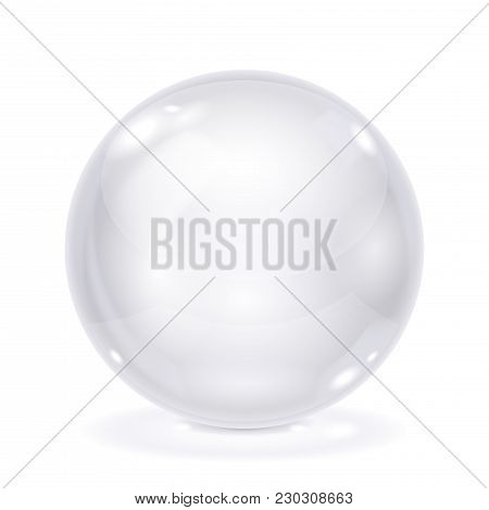 White Glass Ball. 3d Shiny Shere Isolated On White Background. Vector Illustration