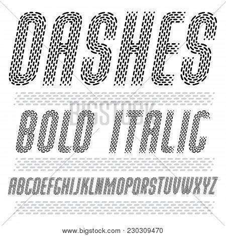Vector Funky Condensed Capital English Alphabet Letters Collection. Rounded Bold Italic Retro Type F